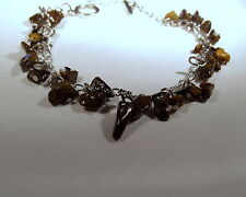 "Natural Tiger Eye Gemstone Silver Plated Bracelet 8-1/4"" Long       TIGB43"