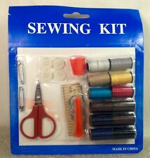 Complete Travel Sewing Kit Measuring Tape Thread Spools Scissors Buttons More