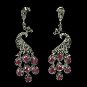 Earrings Pink Ruby and Marcasite Genuine Gems Sterling Silver Peacock Design