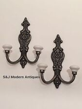 Victorian Iron Double Coat Hook Metal Retro Antique Black Vintage Shabby Chic