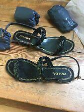Prada Black Patent Sandals New In Box (NIB)/Low Heel/ Size 41/11