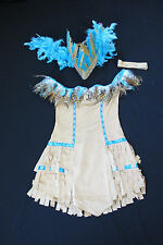Indian Girl Halloween Costume Native American Pocahontas Feather Headdress NEW