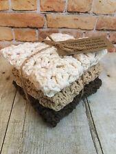 Handmade Crochet Spa Dish Cloth Wash Set/3 Earthtones Brown Tan Ecru 100% Cotton