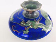Vintage Oriental Asian Brass Cloisonne Blue Enamel Squat Bud Vase~Dragon