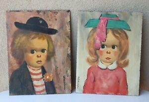 Original ABRUZZI Big Eyes Clown Boy Girl Pair PAINTING Harold Stephenson Artist