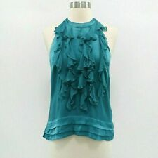 Chelsea Flower Top Blouse Womens 100% Silk XS Teal Ruffle Front Sleeveless