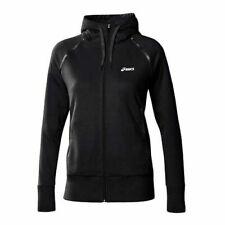 Asics Knit Zip Up Black Cotton Womens Training Hooded Jacket 109872 0905 A57C