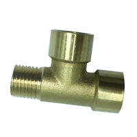 1/4'' 3-Way Tee Full Brass Thread Pipe Connector Adapter Fittings Parts C