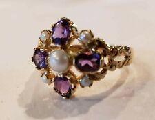 14k Gold Franklin Mint Amethyst Pearl Ladies Ring Size 9