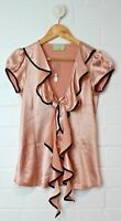 REVIEW SIlky Salmon/Pink Top with Twisting Tie Collar NEW without Tags Size 6