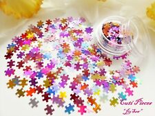 3D Nail Art *Jigsaw* Mixed Colours Puzzle Pieces Holographic Spangle Glitter Pot