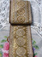 Ancien ruban ou galon 1920, fil métallique doré sur tulle époque Art-Déco