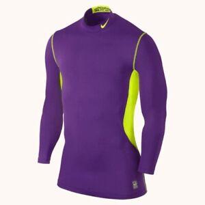 NIKE Hyperwarm Dri Fit Max Fitted Purple Volt Yellow L/S Training Shirt Mens L