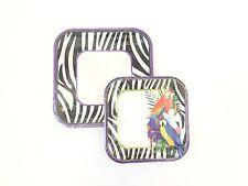 Paper Lunch & Desert Plates, Zebra Animal Print & Parrots, Serves 10