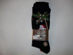 TOMMY BAHAMA Mens 4 PR CHRISTMAS Palm Tree Santa & Solid Black Dress SOCKS NEW