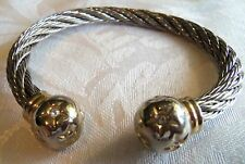Vintage Silver Plated Cable Twist cuff bracelet star and crystal ends estate jew