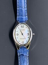 Ecclissi Watch. Sterling Silver Case. Blue Leather Band.