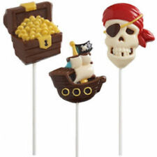 Wilton Candy Mold Pirate Large Lollipop Mold Skull Treasure Chest Ship