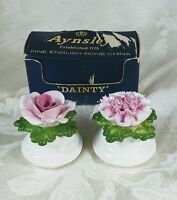 "Aynsley English Fine Bone China Pair Of Floral Salt & Pepper Shakers ""Dainty"""