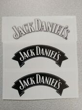JACK DANIELS-CLEAR GLOSS  WHITE AND BLACK RECTANGLE STICKERS 3-PCS 100mm x 35mm.