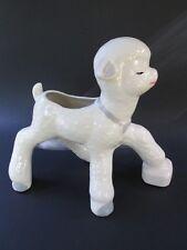 "Vintage 10 X 8"" Ceramic Planter Awkward Little Lamb w/ Long Legs White + Blue"