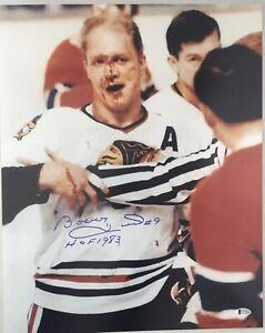 Bobby Hull Signed 16x20 Photo BAS Witnessed Autographed Chicago Blackhawks