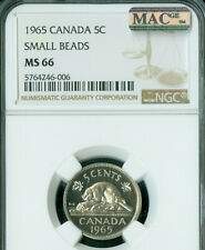 1965 S.B. CANADA 5 CENTS NGC MS66 PQ 2ND FINEST GRADE MAC SPOTLESS   ..