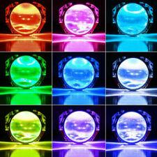 2X RGB Bluetooth LED Demon Eye Halo Ring Headlight Projector Retrofit Light APP