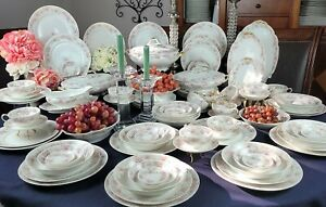 Antique GDA France Limoges 69 Piece Dinnerware Set - Pink Flower & Gray Branches