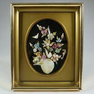 Vintage Framed Sea Shell Collage Bouquet Flower Shadowbox Art