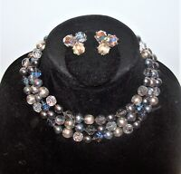 Vtg Grey Black Glass AB Crystal Pearl Necklace & Earrings Set Multistrand Silver