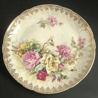 "Vintage HANDPAINTED Luster WEIMAR GERMANY PLATE ""ROSES"" 7.5"" Porcelain Stamped"