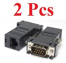 2 Pcs Black VGA Extender Adapter to Cat5/cat6/rj45 Cable
