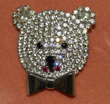 Vintage Butler & Wilson Crystal Rhinestone Teddy Koala Bear Head Face Pin Brooch