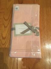 "William Sonoma Pink Linen Double Hemstitch 20"" Square Napkins Set of 4"