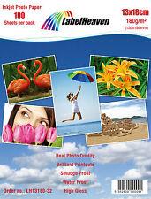 100 FOGLI 13x18 cm 180 gsm LUCIDO carta fotografica di qualità Premium con gloss