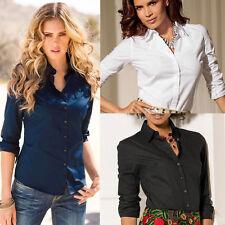 OL Women's Lady Casual Loose Long Sleeve Work Shirt Blouse Tops Dress Plus Size
