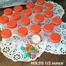 "12 Tiny 1.25"" high Plastic JARS Orange Lids Caps .50 OZ Travel 3304 DecoJars USA"