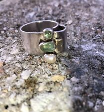 Vintage  LILLY BARRACK Sterling Silver Peridot & Pearl Ring 14kt Accent Size 8