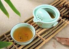Longquan Celadon Plum green Cup Travel Teaset A Teapot And Fish Teacup