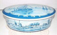 Vintage Western Germany Cookie Biscuit Tin Windmills Blue & White Oval Dutch 6+""