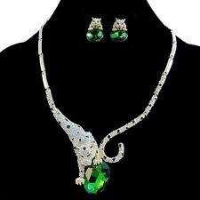 Leopard Panther Green Austrian Crystal Necklace Earrings Set Animal GP Women