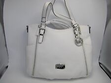 NWT $398 Michael Kors Essex Large Leather Optic White Satchel Bag