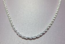 16 INCH STERLING SILVER PLATED 1.8MM SOLID ROPE CHAIN NECKLACE