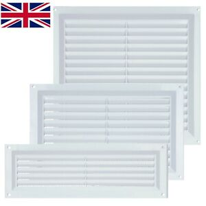 Plastic Louvre Air Vent Cover White with Fly Mesh Used For Ventilation