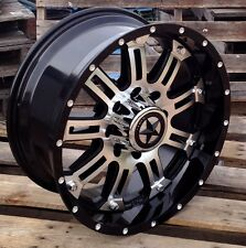 "20"" Black CNC Face Lonestar Ambush Wheels 8x6.5 20x9 -10mm Chevy Dodge Ram 2500"