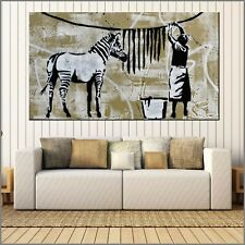 Banksy Respray Washing Zebra Stripes Urban Pop Street Art Painting 160cm x 100cm