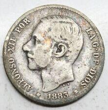 ESPAÑA ALFONSO XII 1883 MSM 1 PESETA MONEDA PLATA MBC-