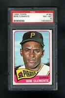 1965 TOPPS #160 BOB CLEMENTE HOF PITTSBURGH PIRATES PSA 8 NM/MT++SHARP CARD!
