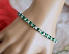 Vintage Jewellery Tennis Bracelet Emerald White Sapphires Jewelry 18cm Long